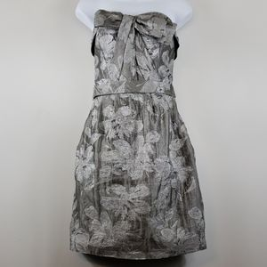 Vera Wang Floral Matalasse Bow Dress Grey/Silver 6